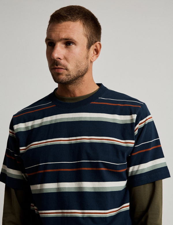 Heavy Weight Stripe Tee - Ink Stripe