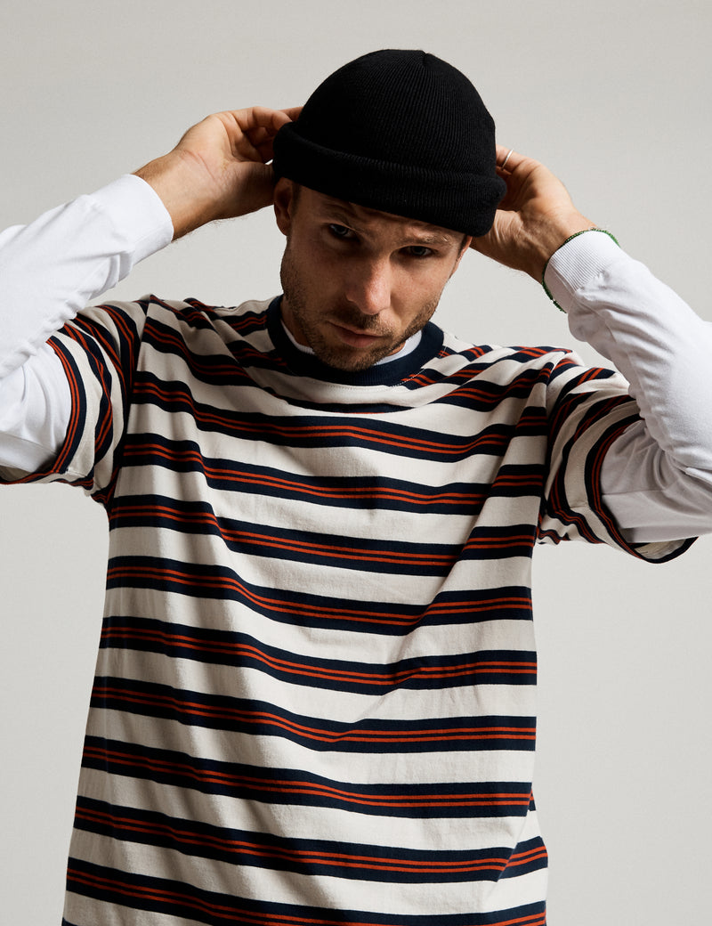 Heavy Weight Stripe Tee - Off White Stripe