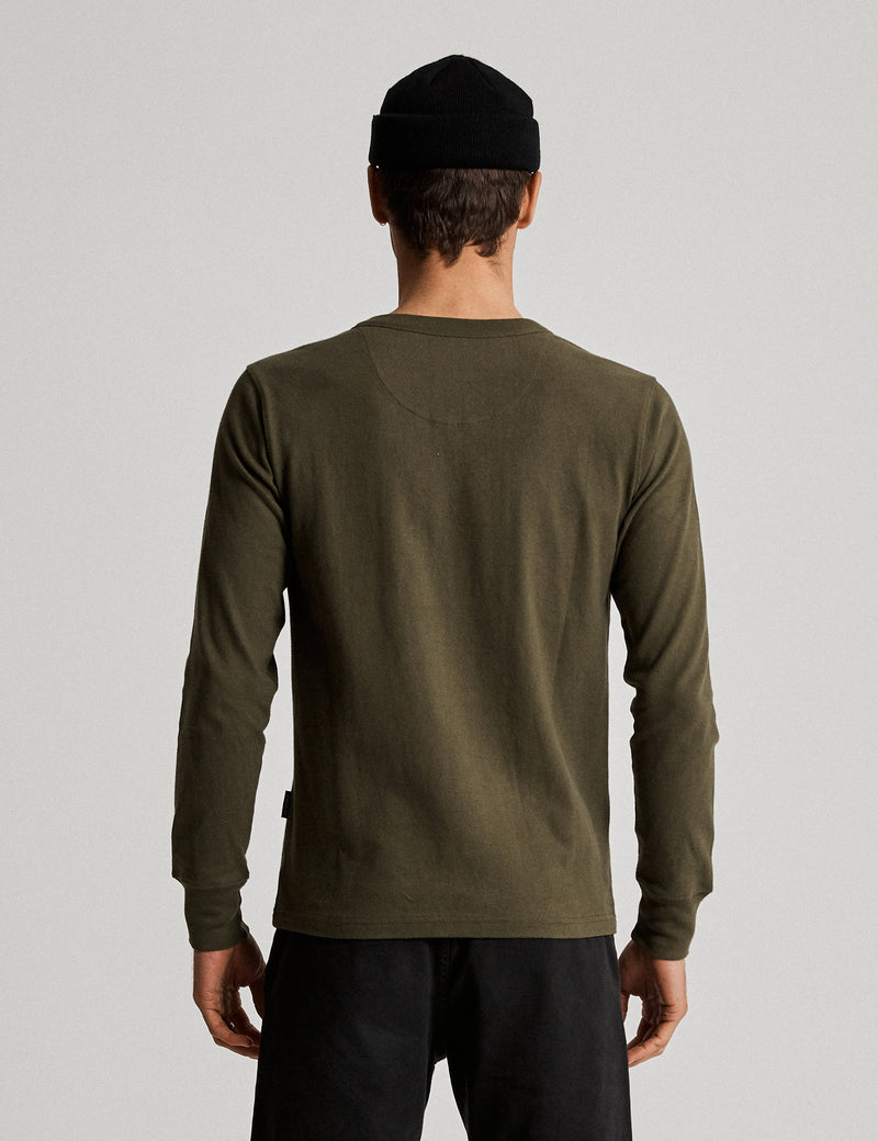 Fair Trade Henley Long Sleeve Tee - Army