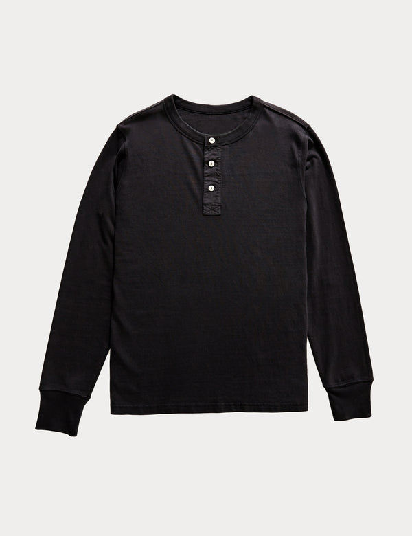 Fair Trade Henley Long Sleeve Tee - Washed Black