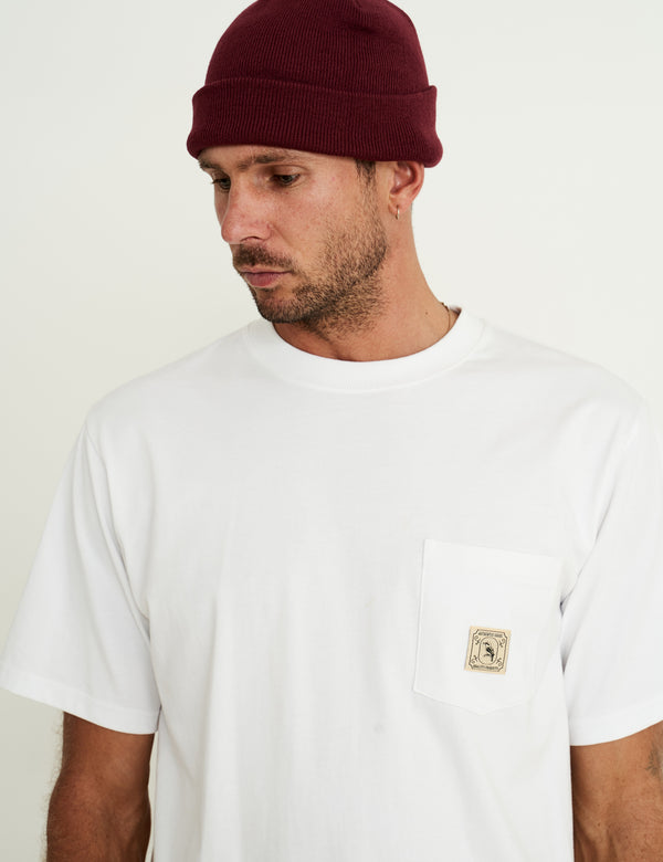 Fair Trade Heavy Weight Pocket Tee - White