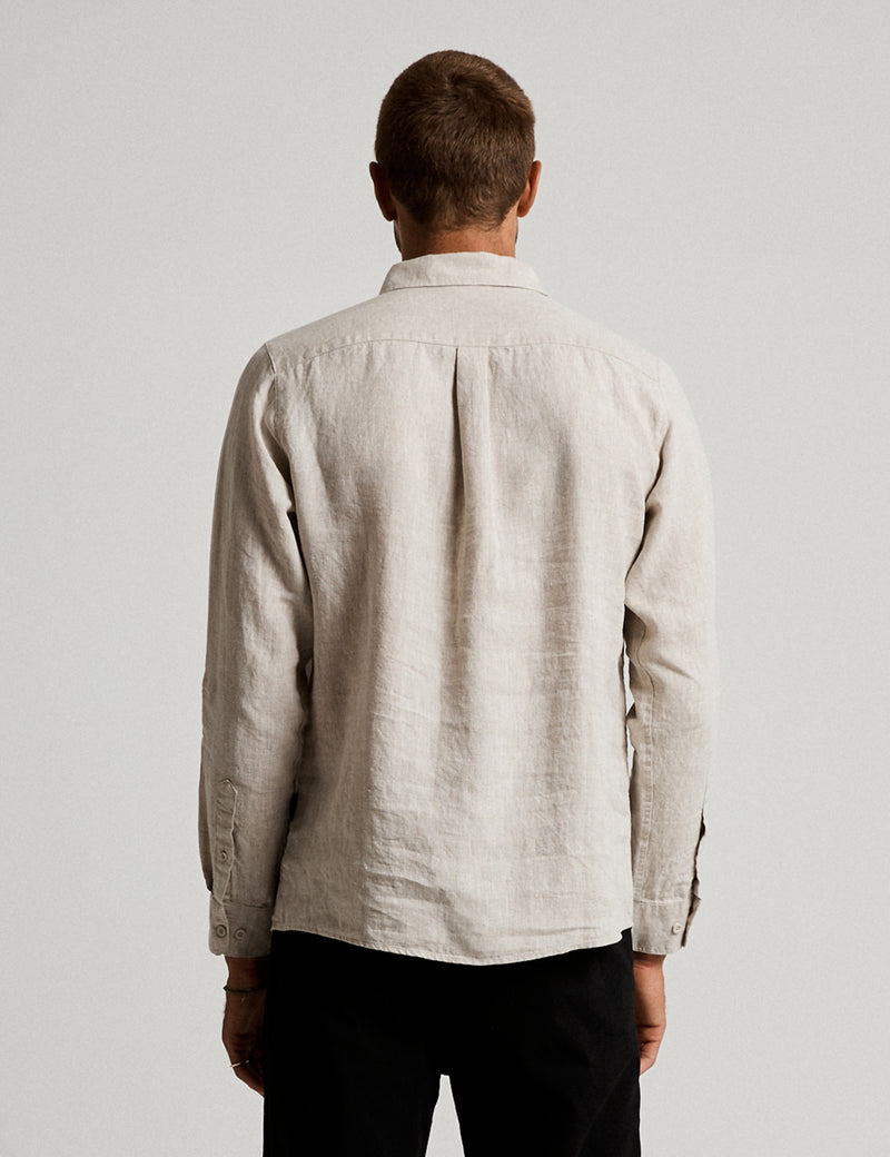Linen Long Sleeve Shirt - Natural