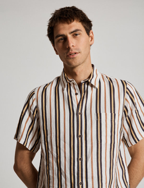 Linen Short Sleeve Shirt - Natural Stripe