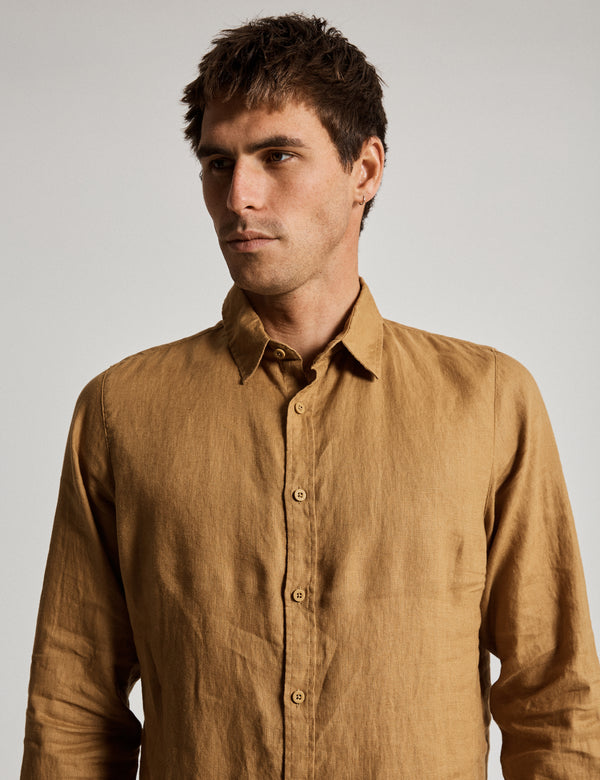 Linen Long Sleeve Shirt - Tobacco