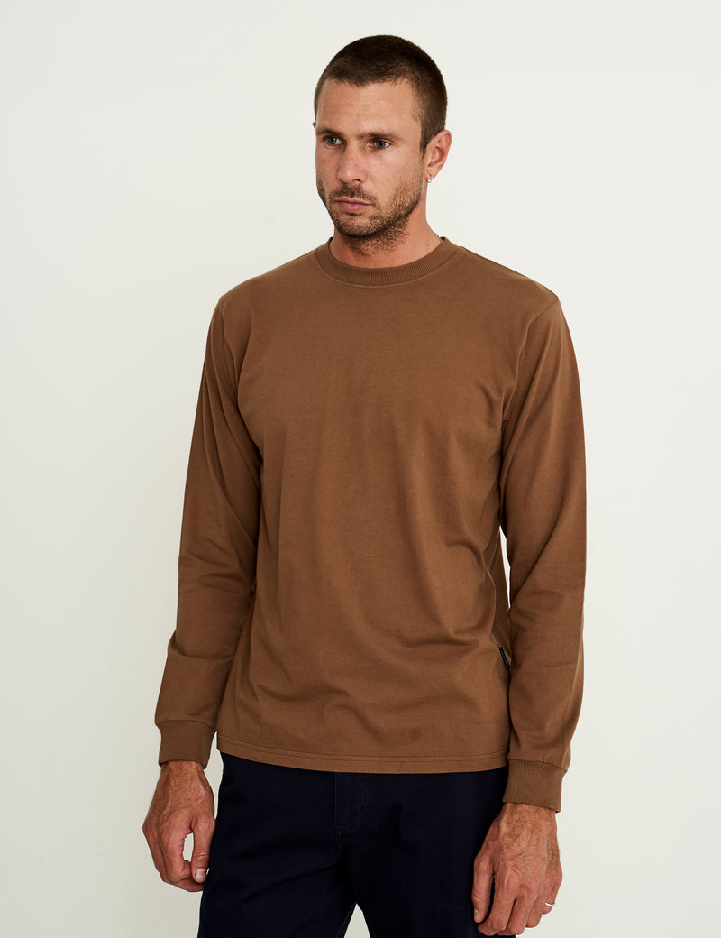 Fair Trade Heavy Weight Longsleeve Tee - Washed Brown