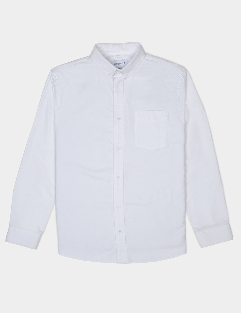 Oxford Long Sleeve Shirt - White Oxford Long Sleeve Shirt - White Mr Simple