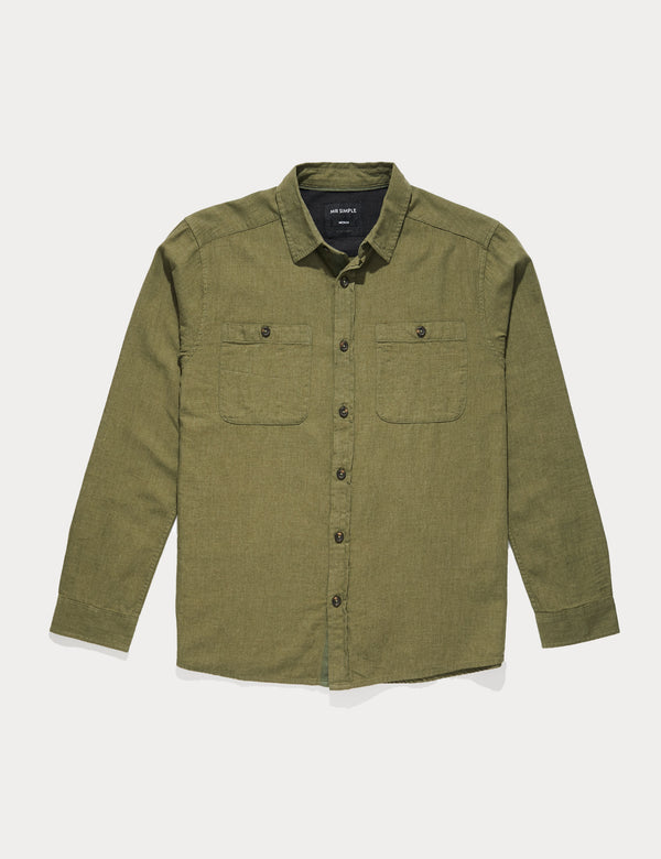 Fair Trade Soft Cotton Long Sleeve Shirt - Army