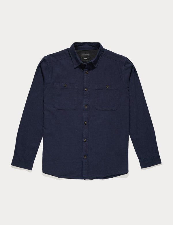 Fair Trade Soft Cotton Long Sleeve Shirt - Navy