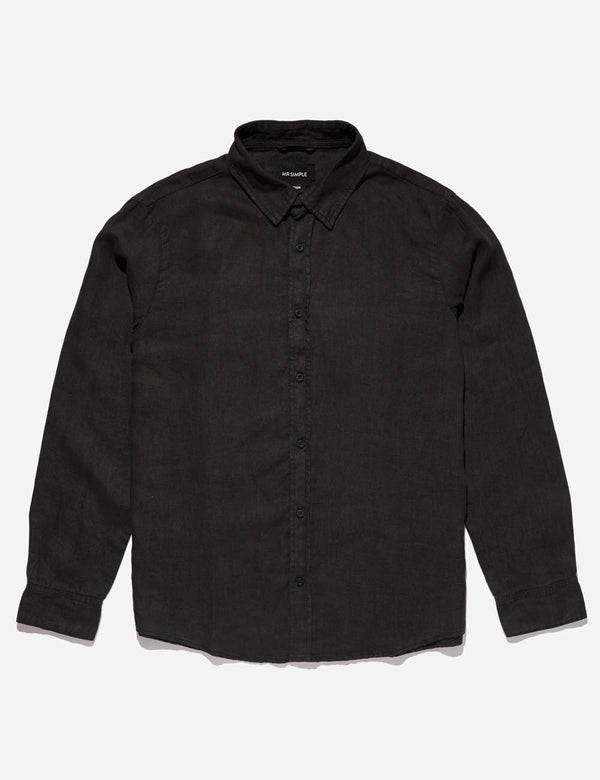 Linen Long Sleeve Shirt - Black
