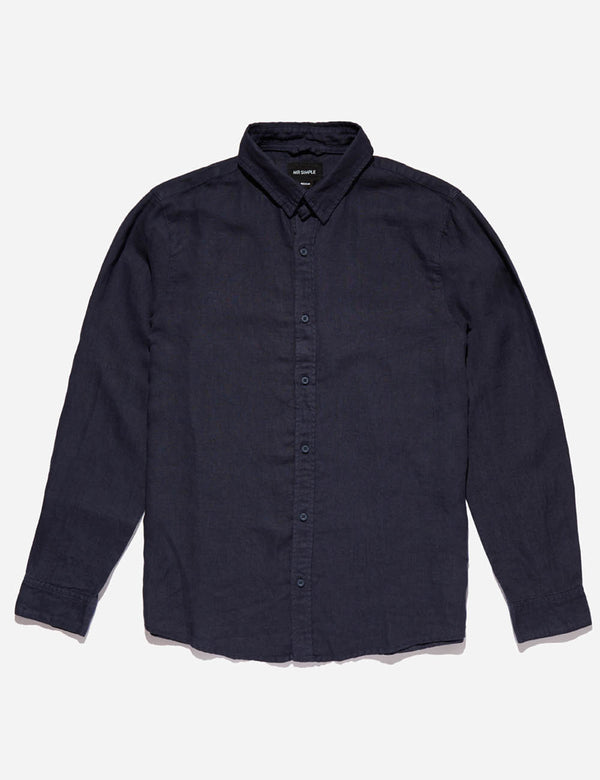 Linen Long Sleeve Shirt - Navy