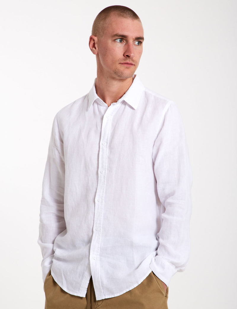 Linen Long Sleeve Shirt - White