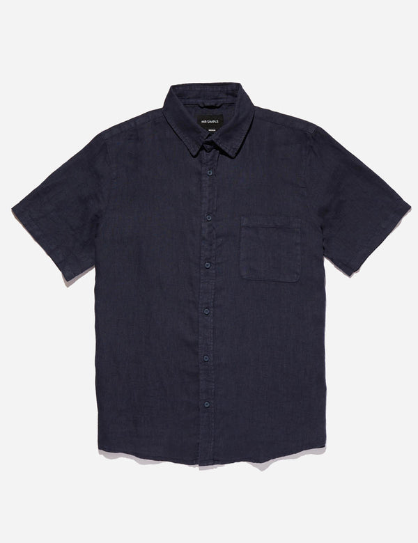 Linen Short Sleeve - Navy