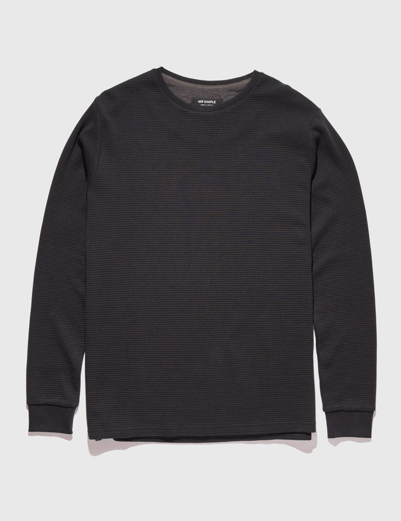 Waffle Long Sleeve Tee - Black Waffle Long Sleeve Tee - Black Mr Simple