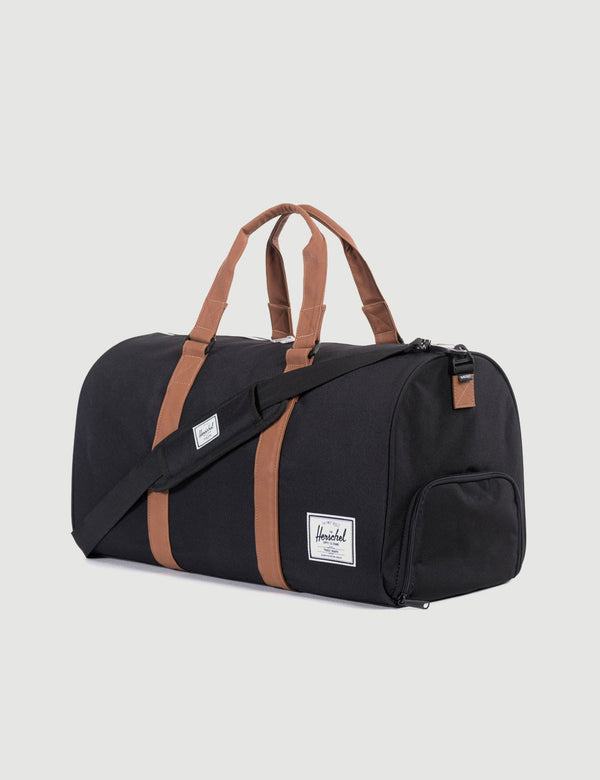 Herschel Novel Duffle - Black/Tan Synthetic Leather