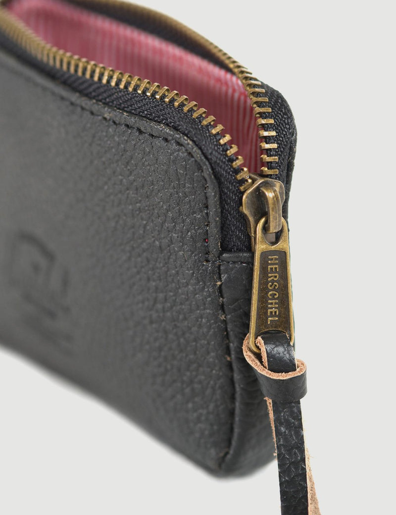 Herschel Oxford Pouch Leather Wallet RFID - Black Pebbled Leather