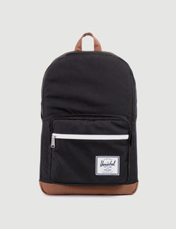 Herschel Pop Quiz Backpack - Black/Tan Synthetic Leather