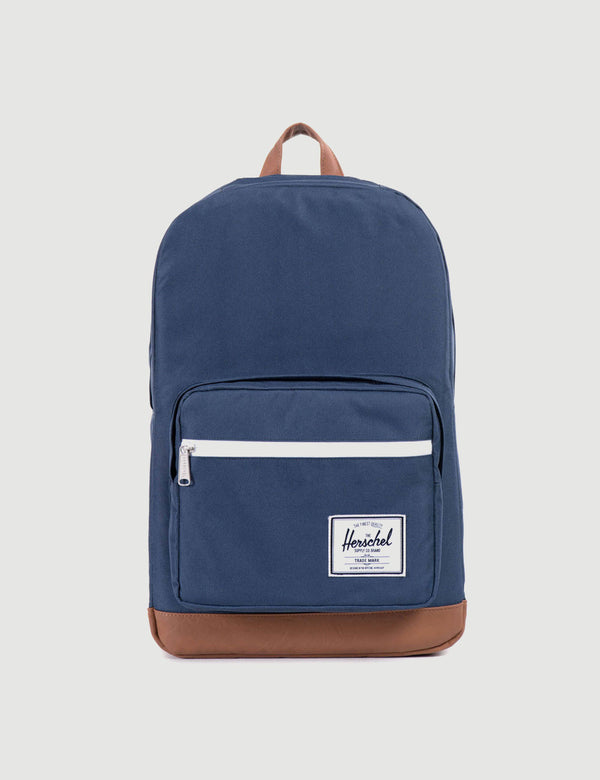 Herschel Pop Quiz Backpack - Navy/Tan Synthetic Leather