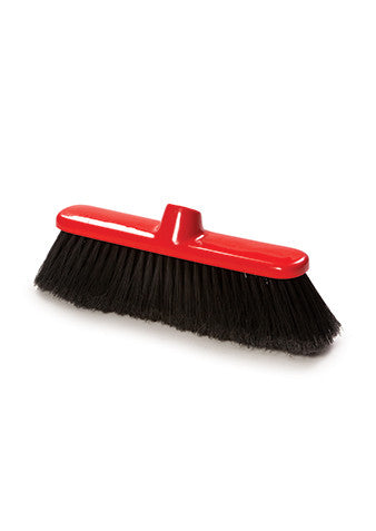 "Pack of 12 x 280mm (11"") Broom Soft Black All Plastic Fill"