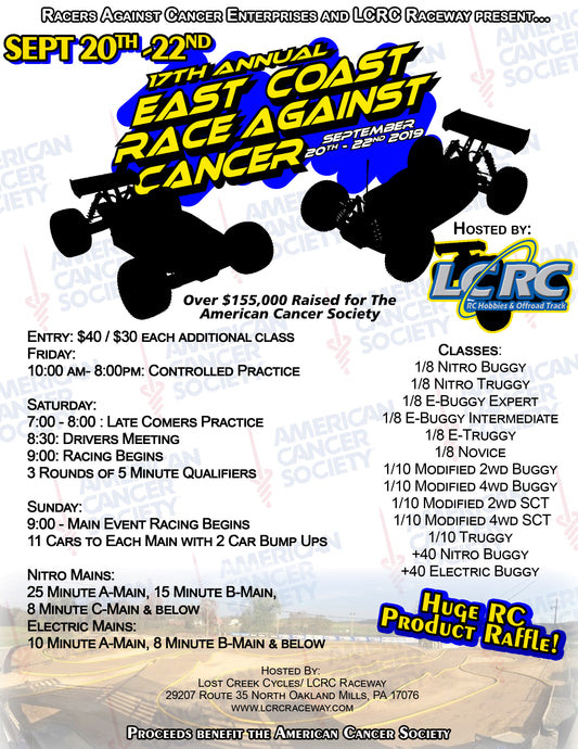 Results from the 2019 East Coast Race Against Cancer Hosted by LCRC Raceway