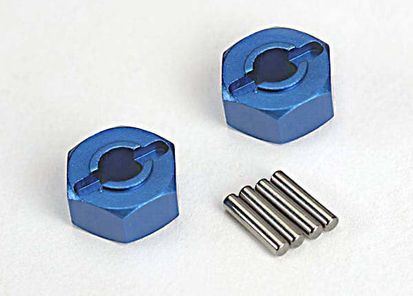 Traxxas 1654X Wheel hubs, hex (blue-anodized, lightweight aluminum) (2)/ axle pins(4) 0.02