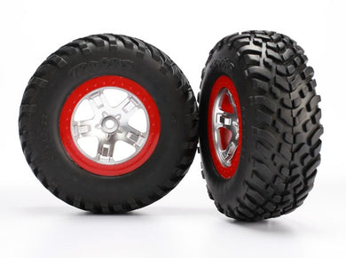 Traxxas 5873R Tires & wheels, assembled, glued (SCT satin chrome red beadlock wheels, ultra-soft S1 compound off-road racing tires, inserts) (2) (2WD rear, 4WD f/r) 0.48
