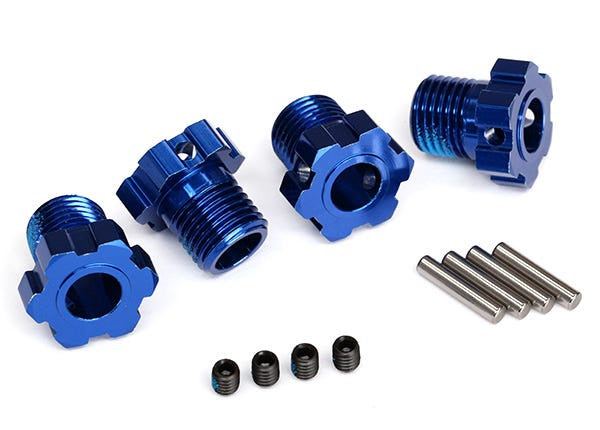 Traxxas 8654 Wheel hubs, splined, 17mm (blue-anodized) (4)/ 4x5 GS (4)/ 3x14mm pin (4) 0.112