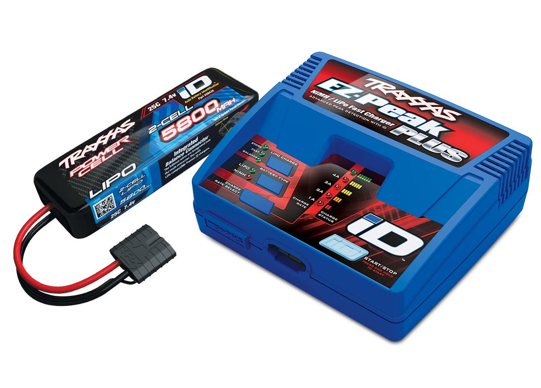 Traxxas 2992 - Battery/charger completer pack (includes #2970 iD® charger (1), #2843X 5800mAh 7.4V 2-cell 25C LiPo battery (1))