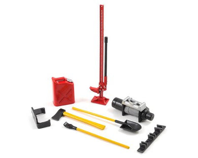 Yeah Racing 6-Piece Scale Tool Set (Red) w/Axe, Shovel, Oil Tank, Jack, Winch