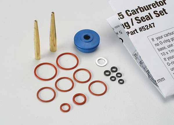 Traxxas 5247 O-ring and seal set, carburetor/ O-rings: 2x1mm (3), 10x1mm (4), 2.5x1.15mm (2), 6.2x1.2mm (1)/ 5x.9mm O-ring installation tool/ 5.3x7.8x.6mm crush washer (2)/ carburetor dust boot (1) (TRX2.5, 2.5R) 0.025