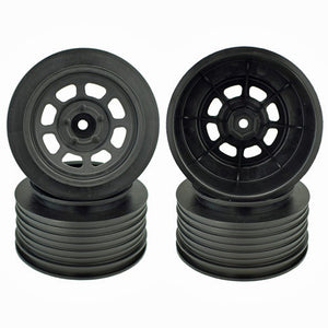 DE Racing DER-DS4-RB Speedway Short Course Wheels (Black) (4) (21.5mm Backspace)