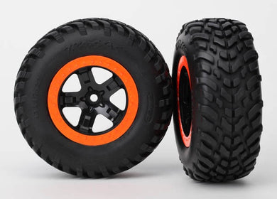 Traxxas 5863R Tires & wheels, assembled, glued (S1 compound) (SCT, black, orange beadlock wheels, dual profile (2.2' outer, 3.0' inner), SCT off-road racing tires, foam inserts) (2) (4WD f/r, 2WD rear) (TSM rated) 0.48