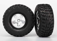 Traxxas 5880 Tires & wheels, assembled, glued (SCT satin chrome, black beadlock style wheels, Kumho tires, foam inserts) (2) (4WD front/rear, 2WD rear only) 0.565