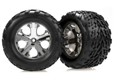 3668 - Tires & wheels, assembled, glued (2.8') (All-Star chrome wheels, Talon tires, foam inserts) (2WD electric rear) (2)