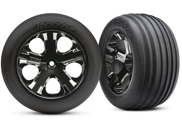 Traxxas 3771A - Tires & wheels, assembled, glued (2.8') (All-Star black chrome wheels, ribbed tires, foam inserts) (electric front) (2)