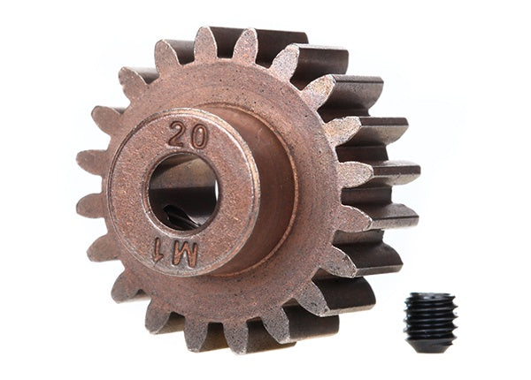 Traxxas 6494X - Gear, 20-T pinion (1.0 metric pitch) (fits 5mm shaft)/ set screw (compatible with steel spur gears)