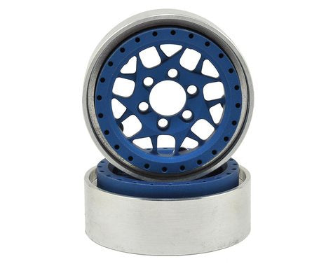 Vanquish Products KMC XD127 Bully 1.9 Beadlock Crawler Wheels (Blue) (2)