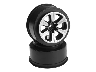 Jconcepts JCO3372B Hustle - Slash rear, Slash 4x4 F&R wheel - (black w/ silver face plating) - 2pc.