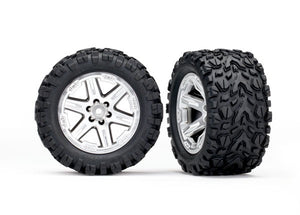 Traxxas 6774R - Tires & wheels, assembled, glued (2.8') (RXT satin chrome wheels, Talon Extreme tires, foam inserts) (2WD electric rear) (2) (TSM rated)