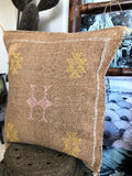 Sabra silk cushion Brown/Caramel
