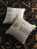 Two Black and white mud cloth cushion covers