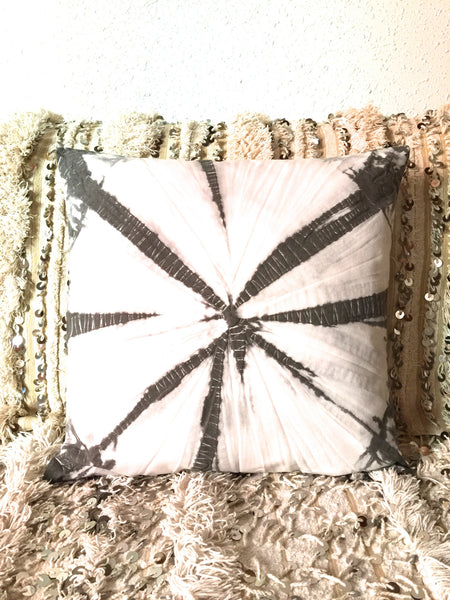 Tie dye grey and white cushion cover.