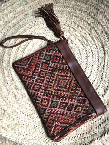 Kilim and leather boho clutch bag