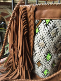 Brown leather and kilim BOHO bag