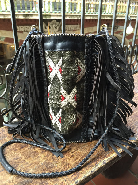 Black leather and kilim BOHO bag