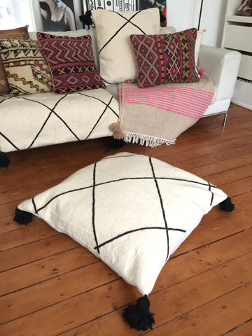 Large Beni Ouarain flat woven white floor cushion with Pom poms