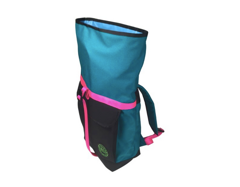 Turquoise with Pink Roll Top Bike Backpack by Mer Bags