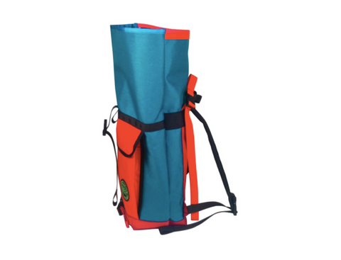 Turquoise & Orange Roll Top Bike Backpack by Mer Bags