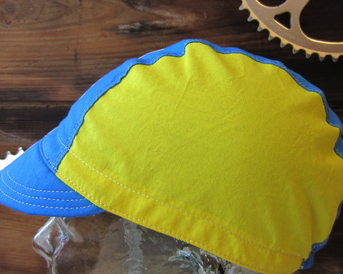 Blue/Yellow Cycling Cap by Ellum Bag Works