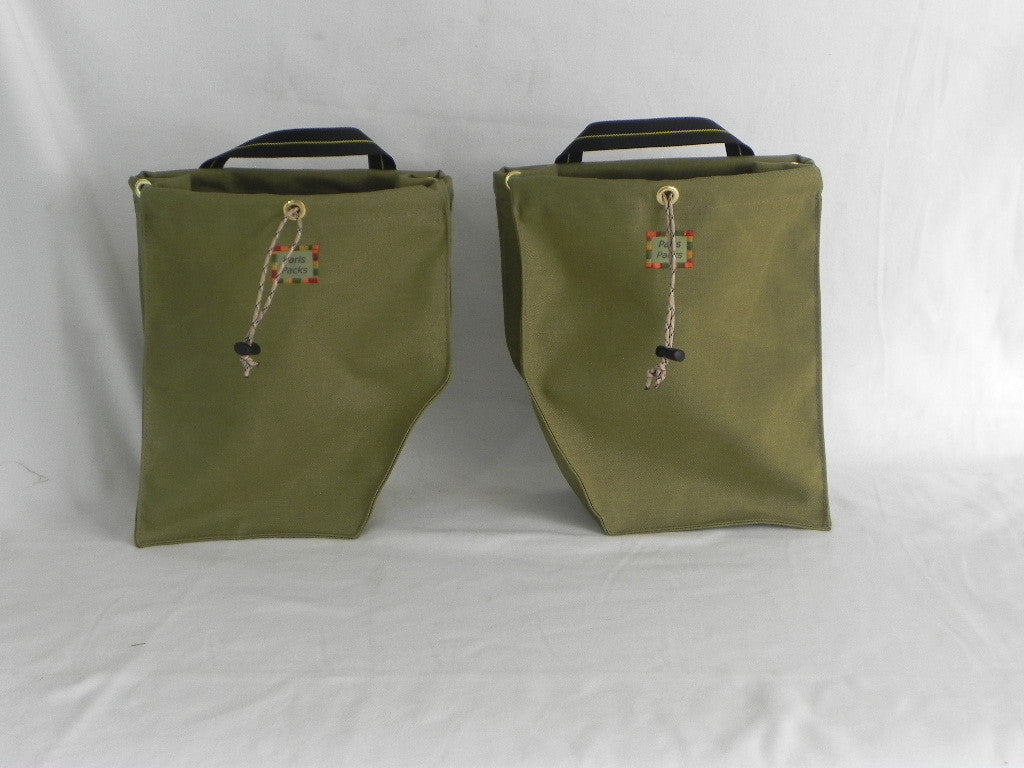 Khaki Green Bicycle Panniers by Paris Packs