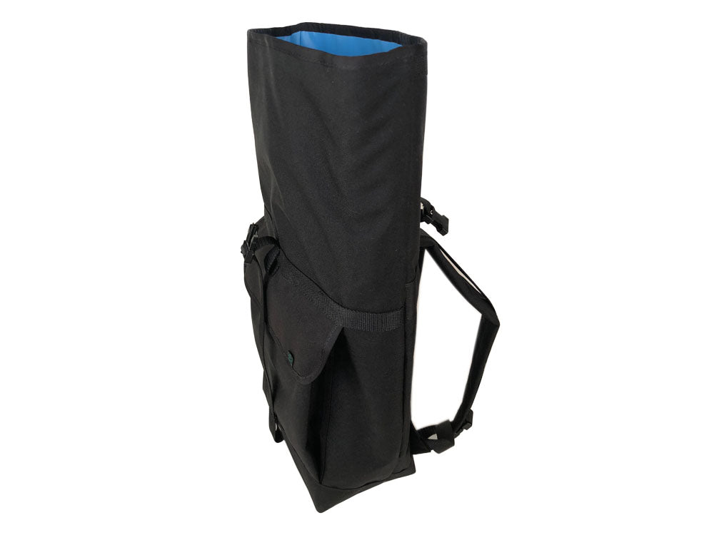 Black Roll Top Backpack with Front Pocket by Mer Bags